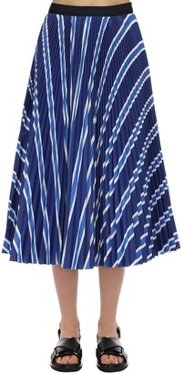 Sacai Striped Cotton Blend Skirt