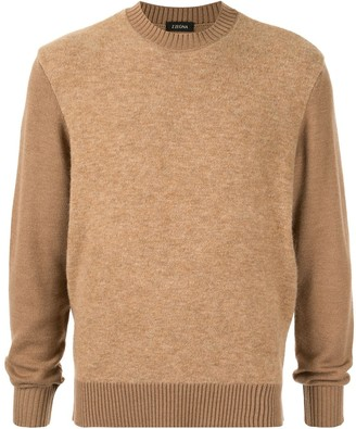 Ermenegildo Zegna Crew Neck Two-Tone Jumper