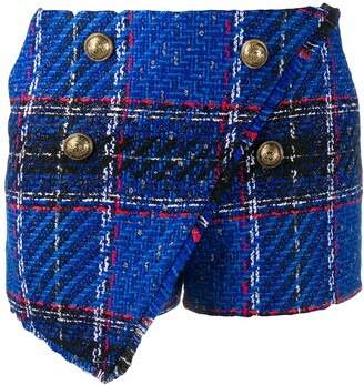 Balmain Tartan-Check Tweed Shorts