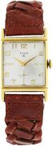One Kings Lane Vintage Elgin Rose Gold Brown Leather Watch