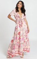 Showpo Rellie Tie-Front Maxi Dress in pink floral - 6 (XS) The Floral