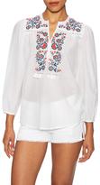 Antik Batik Cotton Floral Embroidered Top