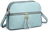 Dasein Women's Crossbodies Light - Light Blue Tassel-Accent Crossbody Bag