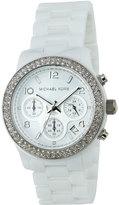 MICHAEL Michael Kors Runway Ceramic Chronograph Bracelet Watch w/ Glitz, White