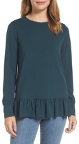 Halogen Women's Ruffle Hem Sweatshirt