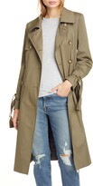 Helene Berman Double Breasted Tie Cuff Stretch Cotton Trench Coat