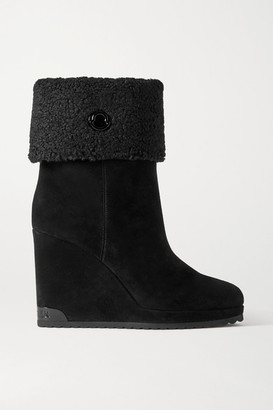 Moncler W Short Shearling-lined Suede Wedge Ankle Boots - Black