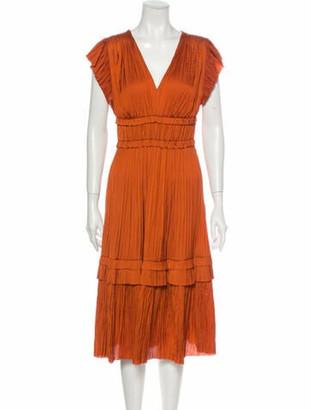 Ulla Johnson V-Neck Midi Length Dress Orange