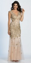 Dave and Johnny Applique Embellished Illusion Evening Dress