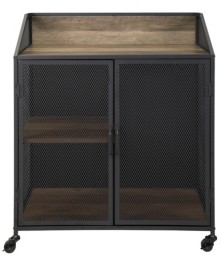"Walker Edison 33"" Industrial Bar Cabinet w/ Mesh - Rustic Oak"