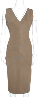 Victoria Beckham Brown Stretch Knit Sleeveless Sheath Dress L