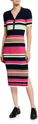 Tanya Taylor Ewa Knit Short-Sleeve Stripe Polo Dress