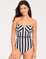 Figleaves Portland Stripe Underwired Bandeau Tummy Control Swimsuit