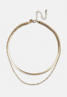 Missguided Gold Look Flat Snake And Twist Chain Layered Necklace