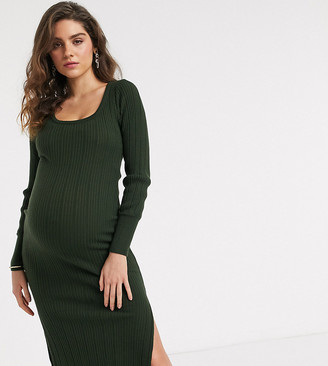 Asos DESIGN Maternity scoop neck rib knitted midi dress