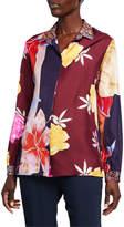 Etro Lily Patchwork Floral Silk Button-Front Blouse