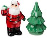 Threshold Salt and Pepper Ceramic Shaker Set Santa and Tree