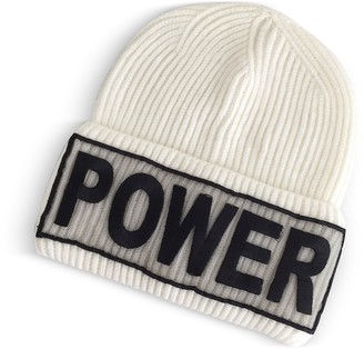 Versace Power Manifesto White Wool Knit Hat