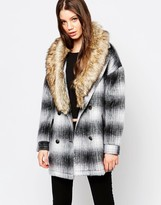 Bellfield Check Jacket With Faux Fur Trim