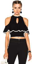 Apiece Apart Knit Cold Shoulder Ruffle Top