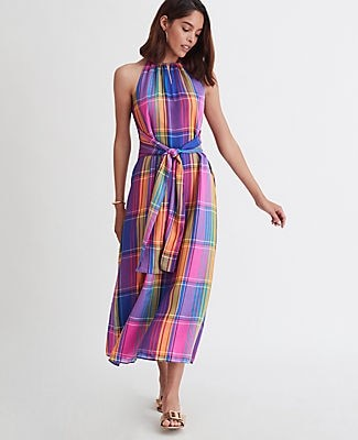 Ann Taylor Madras Plaid Belted Halter Dress