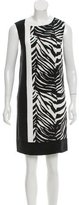 Magaschoni Zebra Print Silk Dress