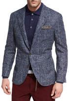 Brunello Cucinelli Houndstooth Boucle Sport Jacket, Medium Blue