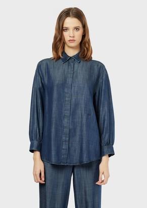 Emporio Armani Denim Shirt With Three-Quarter Length Sleeves
