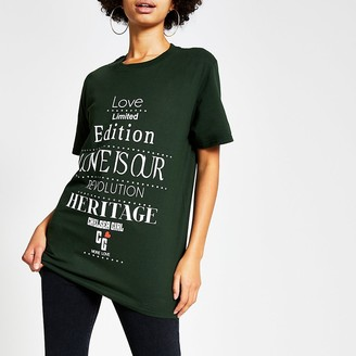 River Island Chelsea Girl green printed easy fit T-shirt