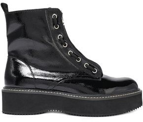 DKNY Rhi Lace-up Faux Patent-leather Ankle Boots
