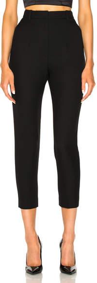 Alexander McQueen Light Wool Silk High Waisted Cigarette Trousers