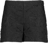 Theory Embroidered linen and cotton-blend shorts