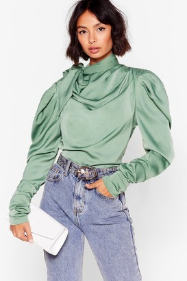 Nasty Gal Womens The More We Tie Satin High Neck Blouse - Sage