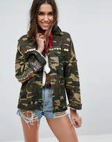 Asos Camo Shacket with Embroidery and Embellishment