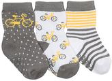 Robeez Gray & Yellow Bicycle Three-Pair Socks Set