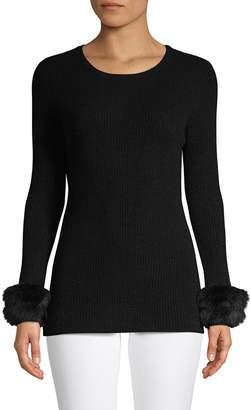 Qi COLLECTION Ribbed Silk & Cotton Shawl Collar Cardigan
