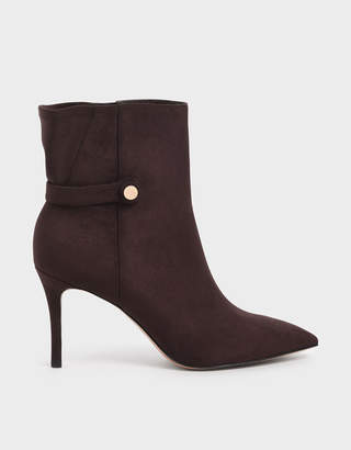 Charles & Keith Textured Stiletto Heel Ankle Boots