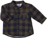 Petit Bateau Plaid Button Down Shirt (Baby) - Green/Navy-24 Months