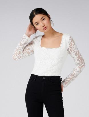 Forever New Corinne Square Neck Lace Bodysuit - Porcelain - xl