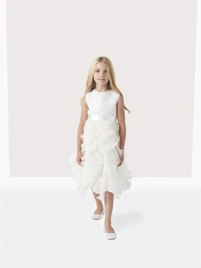 Oscar de la Renta Charlotte Organza Dress with Ruffle Skirt