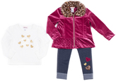 Little Lass Wine & Leopard Print Jacket Set - Infant & Girls