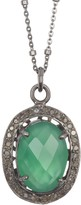 ADORNIA Green Onyx Oval & Diamond Halo Pendant Necklace