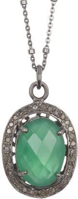 Adornia Fine Green Onyx Oval & Diamond Halo Pendant Necklace