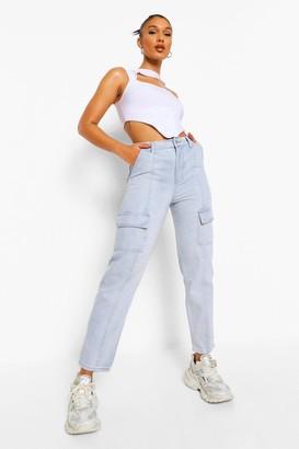 boohoo Denim Belted Cargo Jean