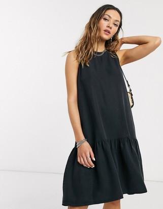 Noisy May sleeveless grunge mini dress in black