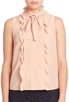 RED Valentino Silk Ruffle Button-Front Blouse