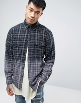 Reason Flannel Check Shirt In Dip Dye With Back Print And Raw Hem