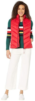 Tommy Hilfiger Adaptive Puffer Vest with Magnetic Zipper (Tango Red) Women's Clothing
