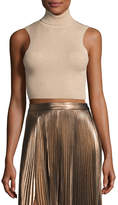 A.L.C. Presley Sleeveless Ribbed Metallic Crop Top, Bisque/Gold