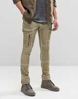 Asos Super Skinny Cargo Pants With Zip In Washed Gray/ Brown